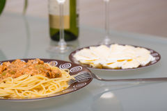 Seafood pasta dish Stock Image
