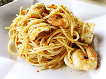 Seafood pasta fusion food Royalty Free Stock Photos