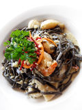 Squid ink pasta linguine Stock Images
