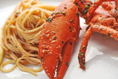 Seafood pasta linguine with fresh lobster royalty free stock photos