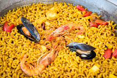 Seafood pasta paella, spanish cuisine . Royalty Free Stock Image