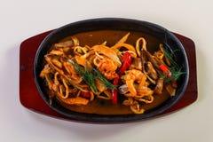 Seafood pasta pan stock photo