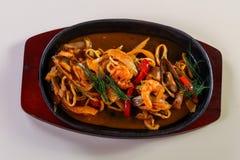 Seafood pasta pan royalty free stock photography