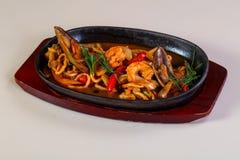 Seafood pasta pan royalty free stock photos
