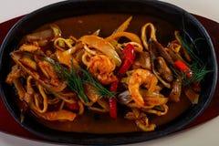 Seafood pasta pan stock photography