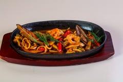 Seafood pasta pan stock images
