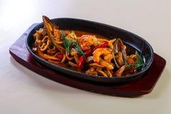 Seafood pasta pan royalty free stock photo