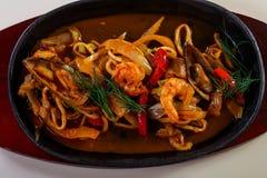 Seafood pasta pan royalty free stock image