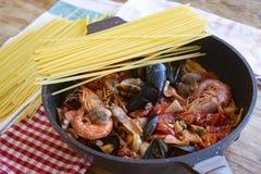 Seafood pasta or spaghetti allo scoglio royalty free stock photography