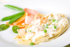 Seafood Pasta with Peas Royalty Free Stock Image