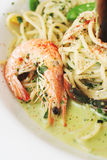 Seafood pasta with pesto sauce Royalty Free Stock Images