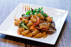 Seafood pasta. With prawn and mussel Stock Image