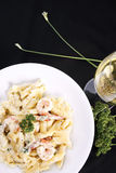 Seafood pasta with prawns and white wine Royalty Free Stock Images