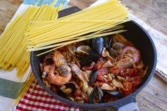 Seafood pasta or spaghetti allo scoglio royalty free stock image