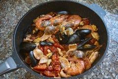 Seafood pasta or spaghetti allo scoglio stock photography