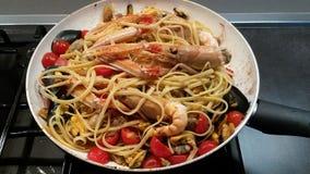 Seafood pasta. Royalty Free Stock Photos