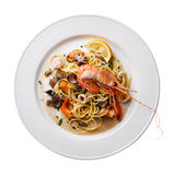 Seafood pasta Spaghetti isolated Stock Photos