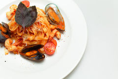 Seafood pasta - Tagliatelle marinara Royalty Free Stock Photography