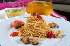Seafood pasta and wine Stock Image