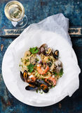 Seafood pasta and wine Royalty Free Stock Photos