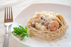 Seafood Pasta With Prawns Royalty Free Stock Photography