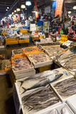 Seafood and people at Noryangjin Fish Market in Seoul Stock Image