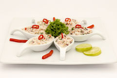Seafood Peruvian dish: Pichanga de Mariscos. Ceviche style with white cream. Royalty Free Stock Photo