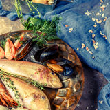 Seafood picture at stone table Stock Photography
