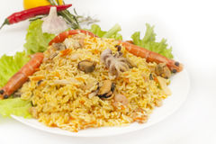 Seafood pilaf Stock Images