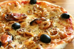 Seafood pizza Stock Photography