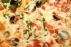 Seafood pizza as background Royalty Free Stock Images