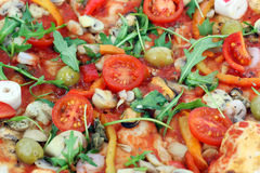 Seafood pizza close up Royalty Free Stock Image