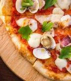 Seafood pizza close up Stock Photos