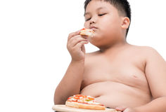 Seafood pizza in hand obese fat boy. Concept junk food can cause obesity. isolated on white background Stock Images