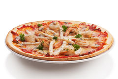 Seafood pizza Stock Images