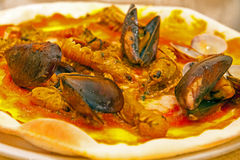 Seafood pizza. With mussels and prawns Stock Photography