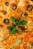 Seafood Pizza with Olives Stock Images