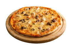 Seafood pizza. With shrimps, mussels and olives Stock Image
