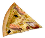 Seafood pizza slice. Clipping path included royalty free stock images