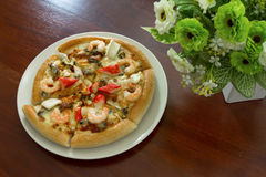 Seafood Pizza on the table. Royalty Free Stock Photography