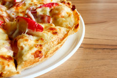 Seafood pizza, top view Stock Photos