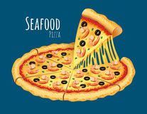 Seafood Pizza. A vector illustration of a cooked Seafood Pizza Royalty Free Stock Image