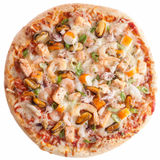 Seafood Pizza on White Background Royalty Free Stock Images