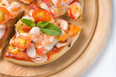 Seafood Pizza on wood palte Stock Photos