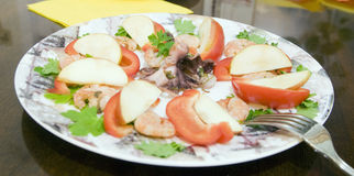 Seafood on plate. With folk Stock Image