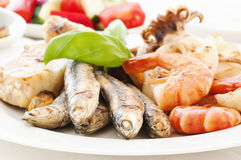 Seafood Plate. With Vegetable and Tzatziki Royalty Free Stock Photos