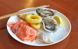 Seafood on plate Stock Photo