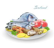 Seafood Plate Composition. Seafood plate with delicacy gourmet fish restaurant products composition vector illustration Stock Photo