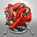 Seafood Plate. Concept as a group of shellfish crustacean and fish grouped together on a dinner place setting as a fresh delicious meal from the ocean as royalty free illustration