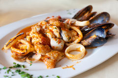 Seafood plate mixed diablitos style Stock Photo